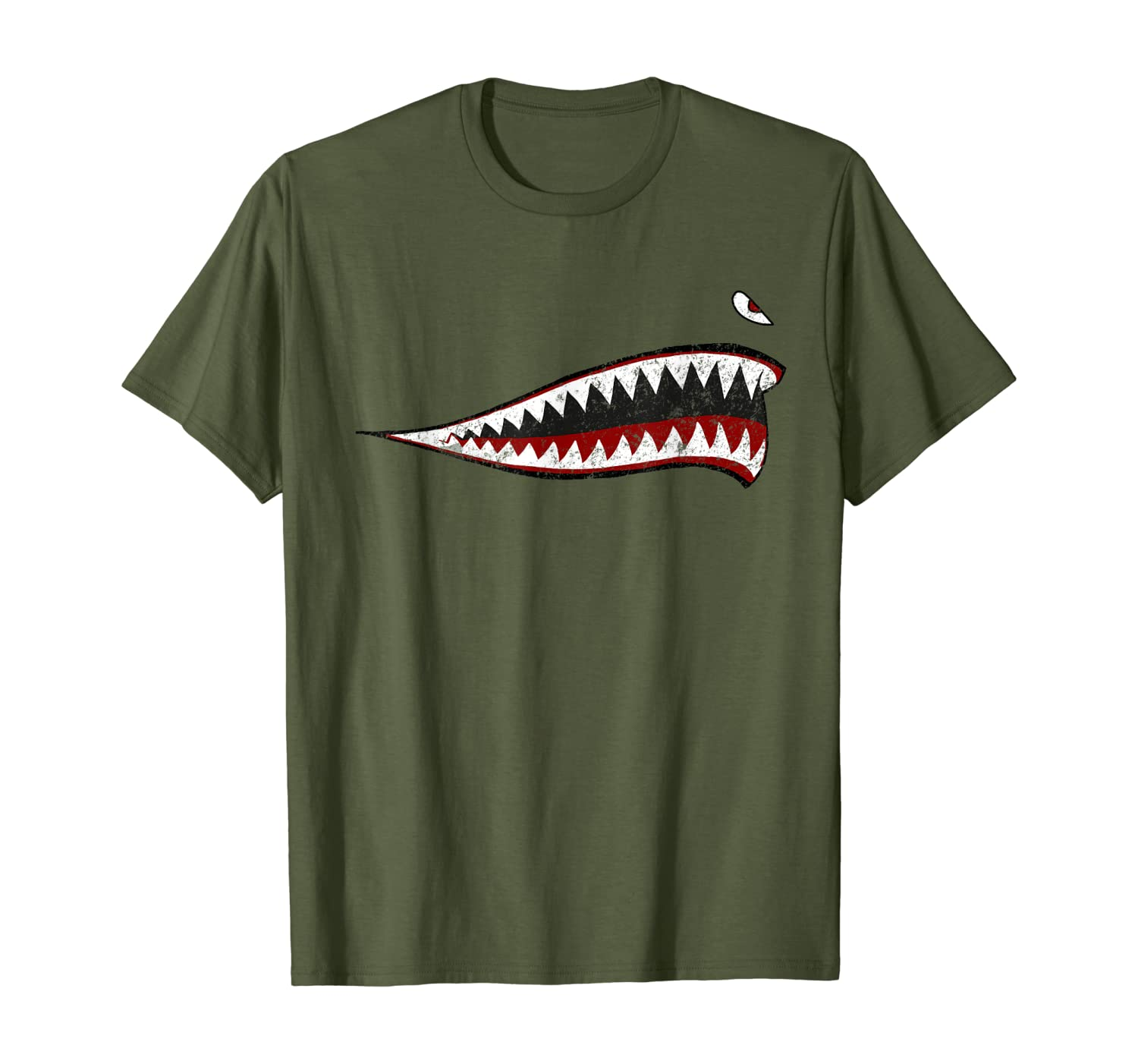Shark Teeth P-40 Warhawk Nose Art WWII WW2 Airplane Vintage T-Shirt