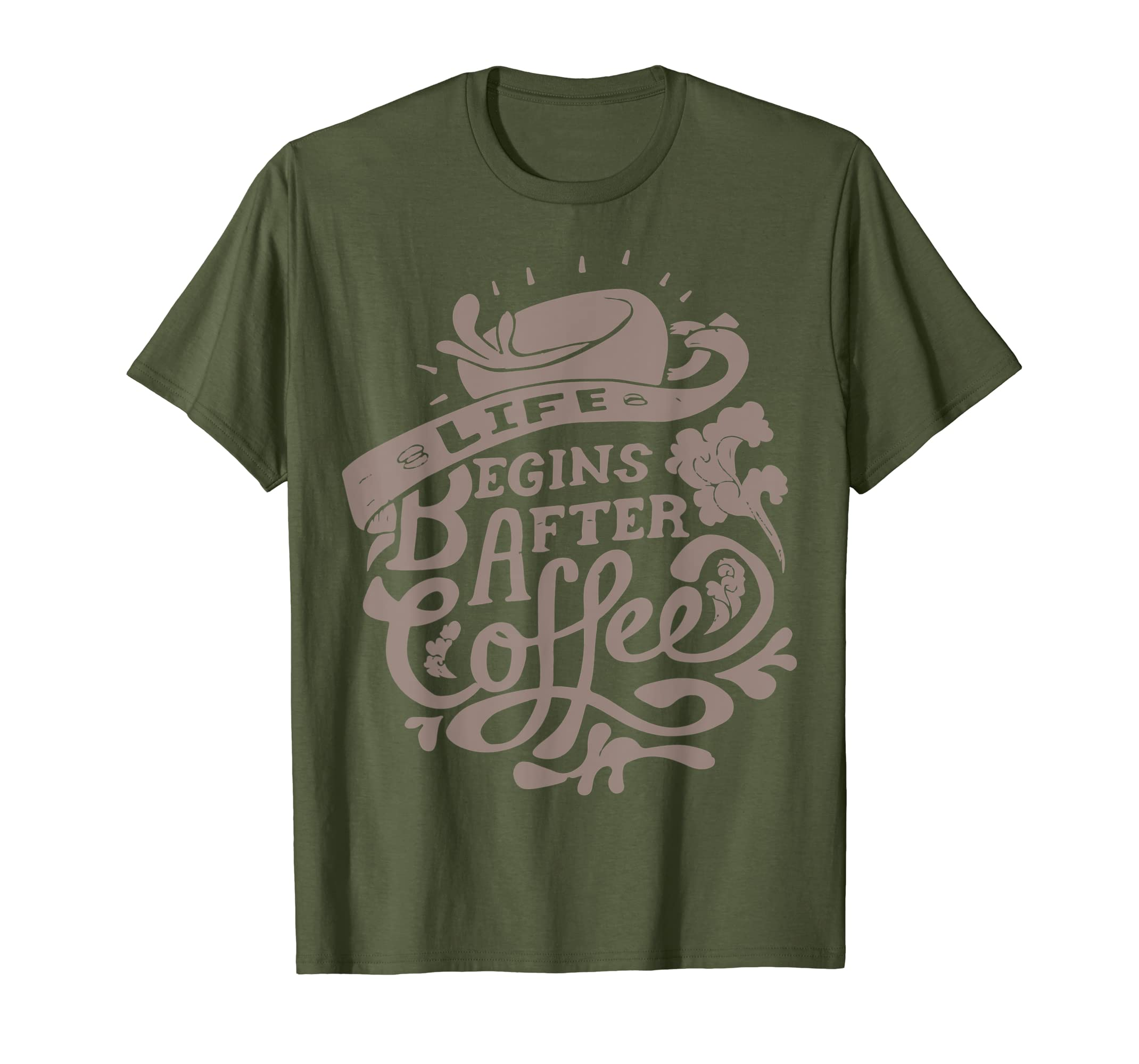 631413e46e3b02 Amazon.com  Life Begins After Coffee T-Shirt Caffeine Lover Unisex Tee   Clothing