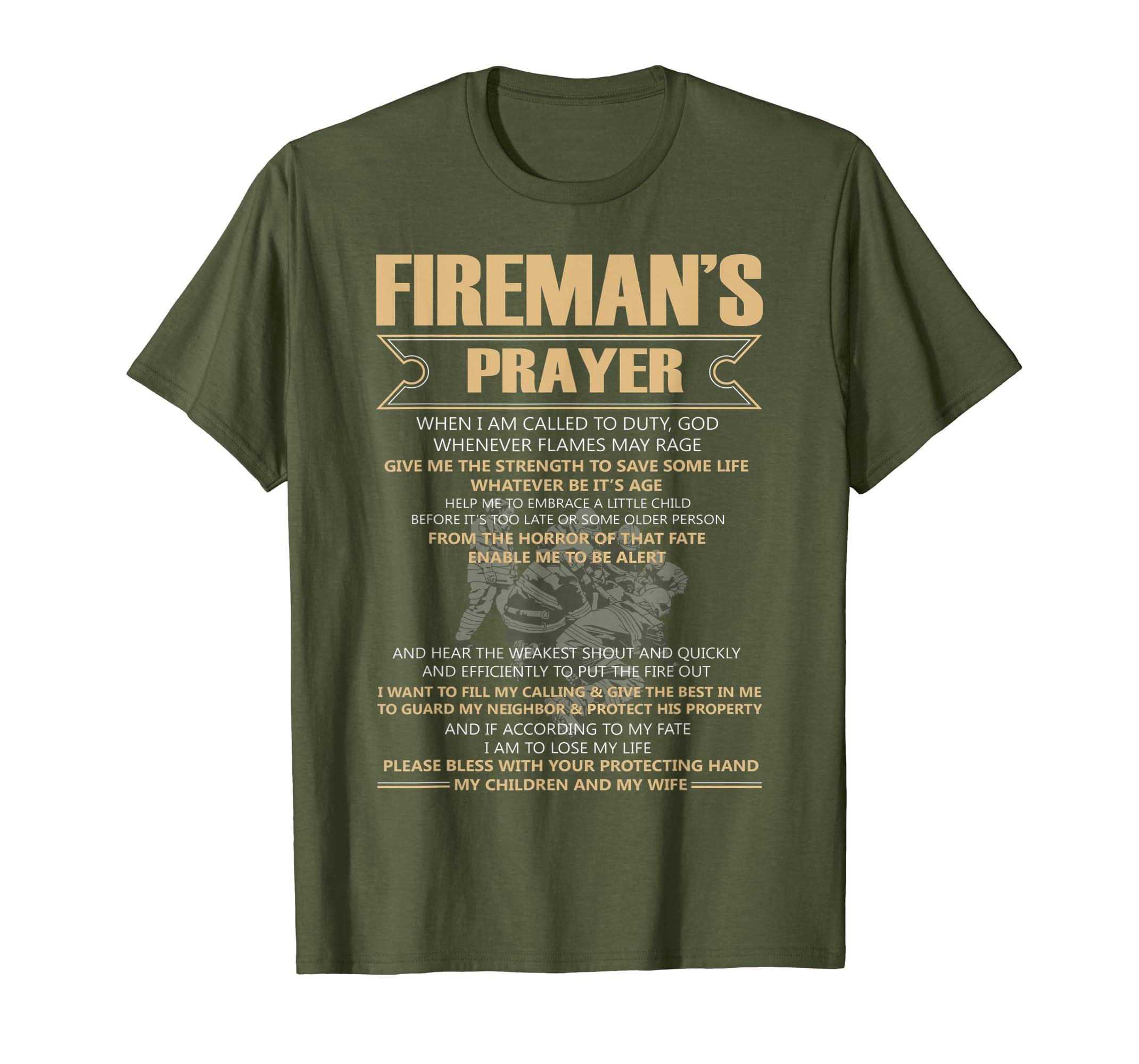 Amazon com: Firefighter's Prayer T Shirt, My Children And My Wife