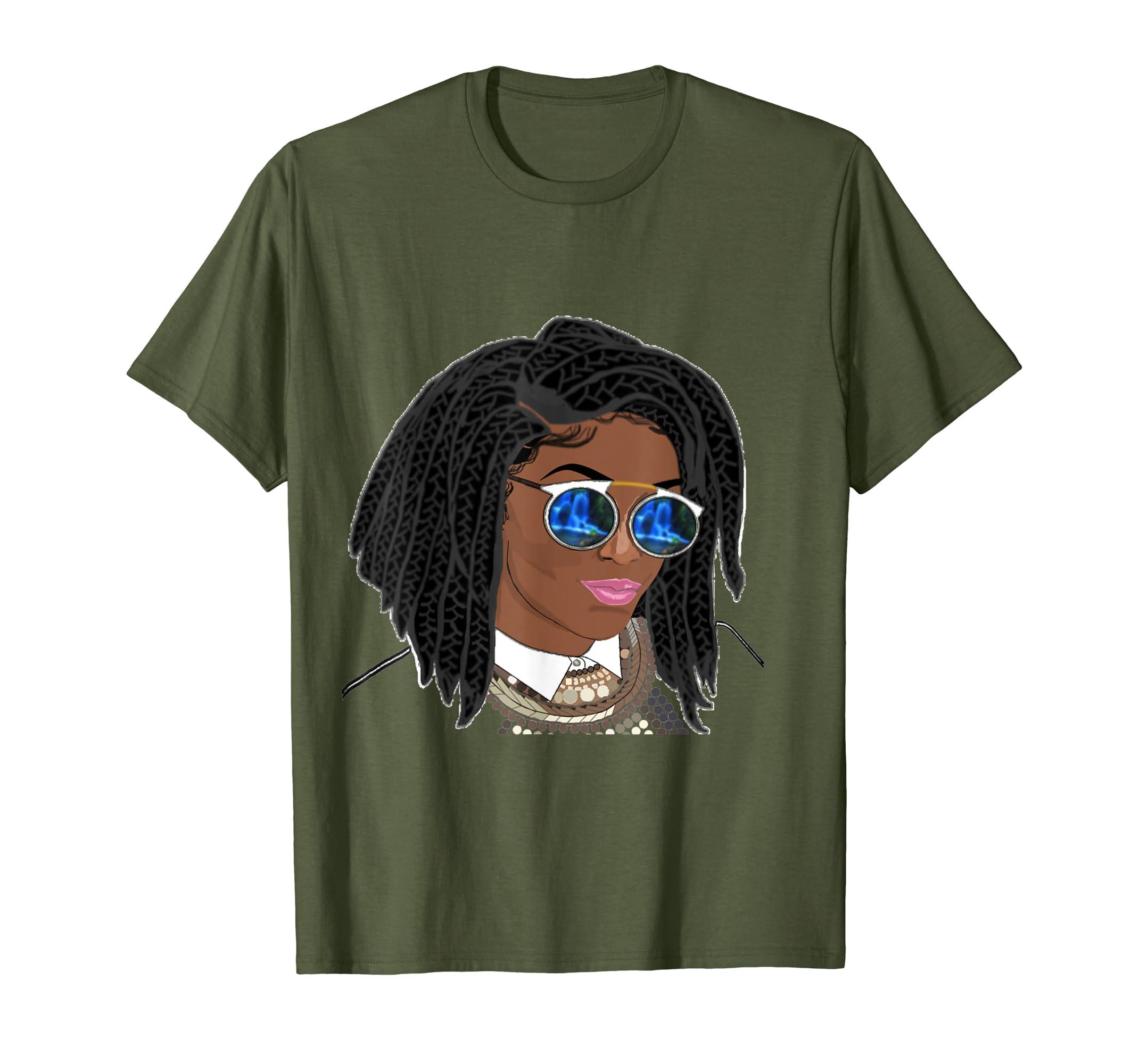 1f5e2064c530e Amazon.com: Natural Hair T-Shirt for Black Women Chunky Box Braids 1 ...