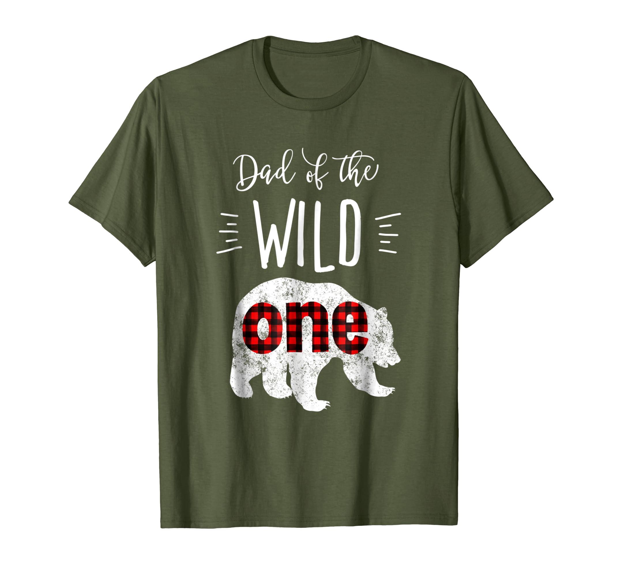 Mens Dad of the Wild One Shirt Bear Lumberjack 1st Birthday Tee-Yolotee