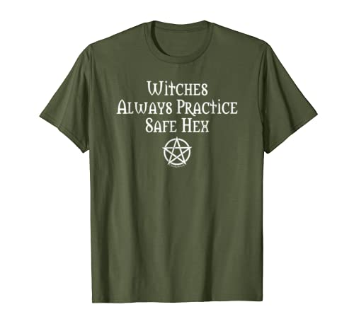 3c6410be8530 Amazon.com: Witches Practice Safe Hex Funny Wiccan Cheeky Witch T-Shirt:  Clothing