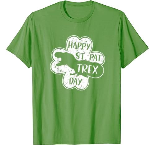 Happy St Pat Trex Day Funny Pre K Teacher Shamrock Dinosaur T Shirt