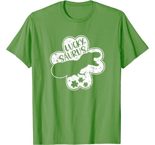 Happy St Pat T. Rex Day Funny Shamrock Dinosaur Lucky Saurus T Shirt