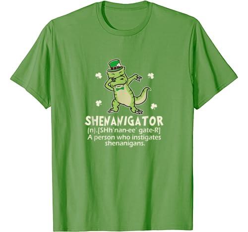 T Rex Dinosaur Dabbing Shenanigator Irish Funny Patricks T Shirt