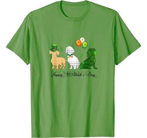 Irish Flag Three Dachshund Dogs Happy St. Patrick's Day Gift T Shirt