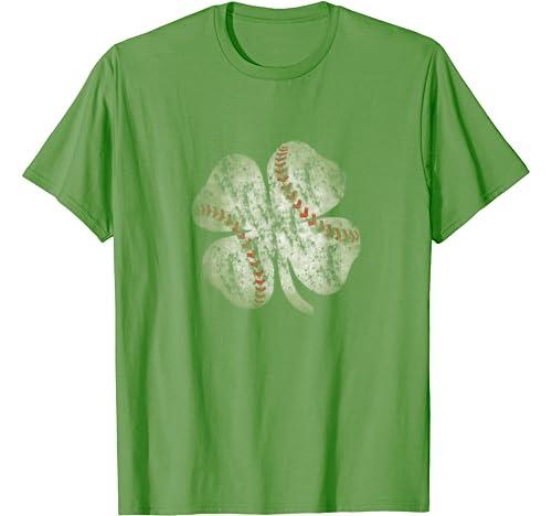 Baseball St Patricks Day Boys Men Catcher Pitcher Shamrock T Shirt