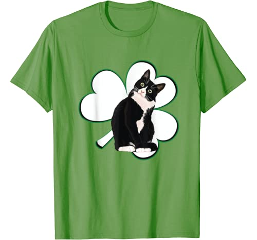 Tuxedo Cat Irish St Patrick's Day For Boys Girls Men Women T Shirt