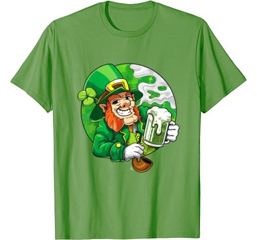 Leprechaun Drinking And Smoking St Pattys Day T Shirt