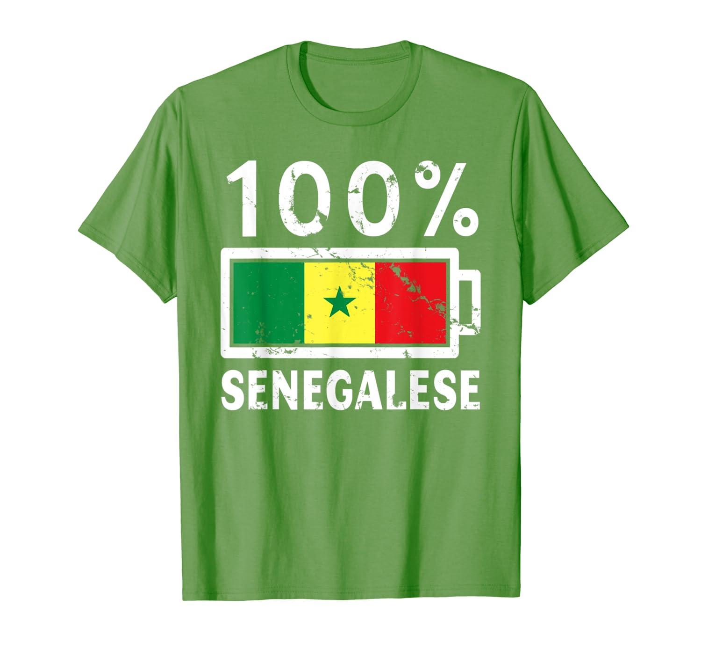 Senegal Flag T Shirt 100 Senegalese Battery Power
