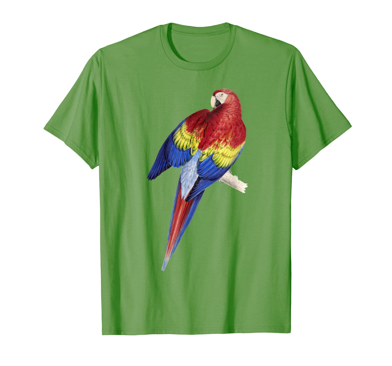 Parrot T-shirt, Scarlet Macaw Tee Jungle Bird Lover Tee-ANZ