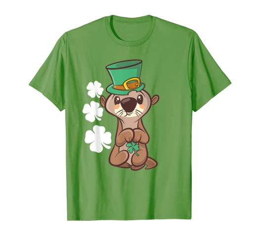 65520a305 Image Unavailable. Image not available for. Color: Leprechaun Otter St  Patricks Day Gift T Shirt ...
