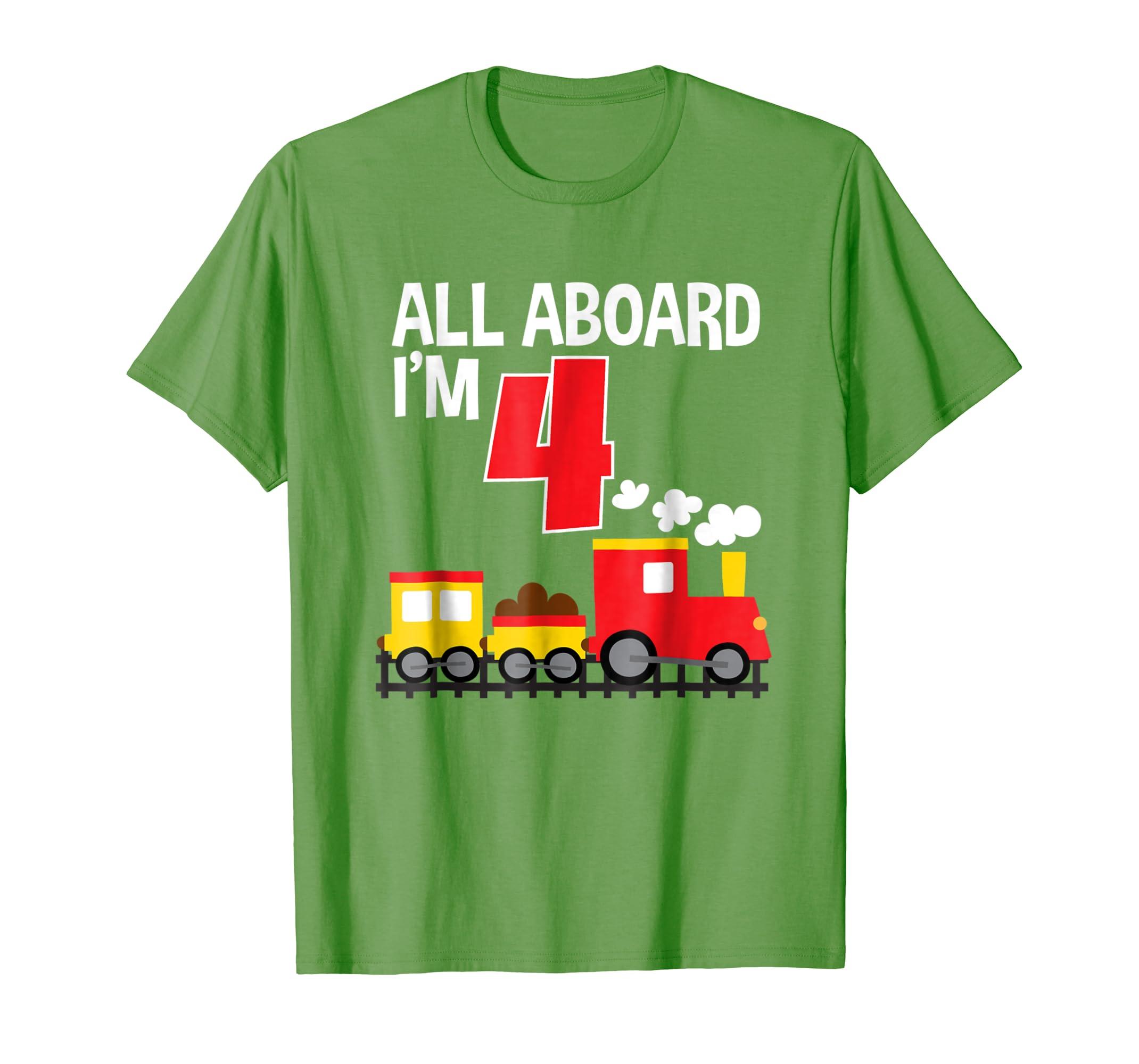 All Aboard I'm 4 Train Birthday T-Shirt Toddler Boys Girls-mt