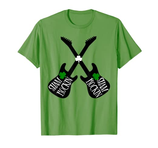 06be859b3 Image Unavailable. Image not available for. Color: Shamrockin Guitar Shirt -Funny  St Patricks Day Shirt