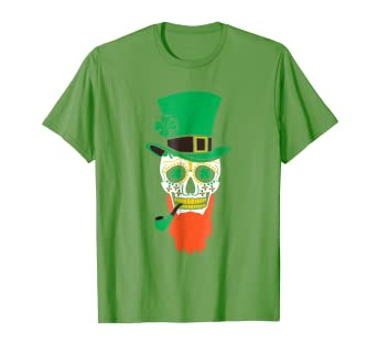 f7a347b74b445 Image Unavailable. Image not available for. Color  St. Patrick s Day Sugar  Skull With Hat And Pipe 2018 T-Shirt