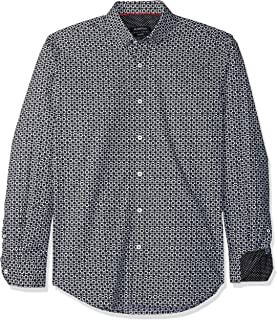 Bugatchi Men's Shaped Fit Asterisk Block Motif Point Collar Shirt