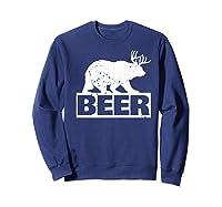 Beer Bear Plus Deer Equals Beer Funny Drinking Vintage Shirts Sweatshirt Navy