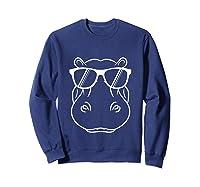 Hippopotamus Lover - Cool Hippo W/ Sunglass Tank Top Shirts Sweatshirt Navy