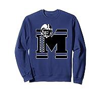 Football Monogrammed Gift Letter M Initial Shirts Sweatshirt Navy