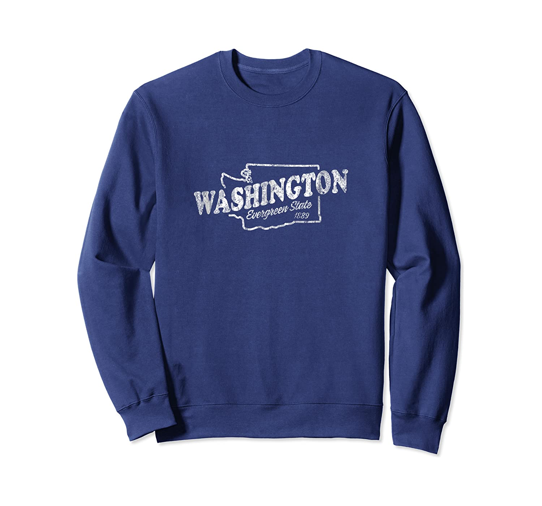 Washington Wa Vintage Graphic Evergreen State Shirts Crewneck Sweater