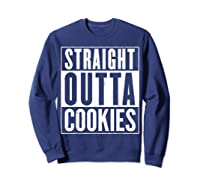 Straight Outta Cookies Distressed Vintage Funny Shirts Sweatshirt Navy