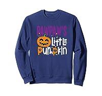 Pawpaw's Little Pumpkin Halloween Cute Pumpkin Gifts Shirts Sweatshirt Navy
