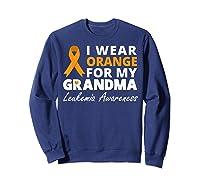 I Wear Orange For My Grandma T Shirt Ribbon Family Warrior Sweatshirt Navy