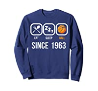 Eat Sleep Basketball Since 1963 56th Birthday Gift Shirts Sweatshirt Navy