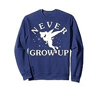 Disney Peter Pan Tinker Bell Never Grow Up Text Silhouette T-shirt Sweatshirt Navy