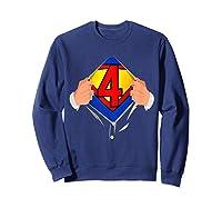4 Year Old Superhero Birthday Party Super Hero 4th Gift Shirts Sweatshirt Navy