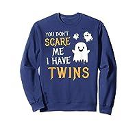 Funny Parents Of Twins Shirt Halloween Gift Sweatshirt Navy