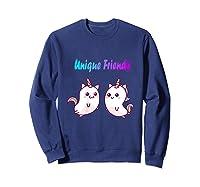 Caticorn Friends Unicorn Cat Rainbow Shirts Sweatshirt Navy