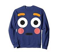 Flushed Face Emoji Easy Lazy Group Halloween Costume Shirts Sweatshirt Navy