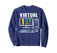 Remote Teaching Online Learning Virtual Tea Premium T-shirt Sweatshirt Navy