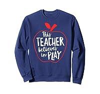 This Tea Believes In Play Tea Shirt With Apple T-shirt Sweatshirt Navy