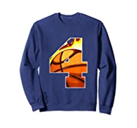 Number 4 Basketball Gift T-shirt Sweatshirt Navy
