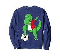 Dabbing Soccer T-rex Mexico Shirt - Mexican Football Sweatshirt Navy