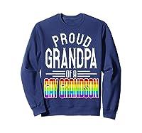 Proud Grandpa Gay Grandson Pride Rainbow Flag Lgbt 2019 Gift Shirts Sweatshirt Navy