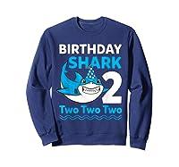 Birthday Shark 2017 2 Years Old Gift For Boy Girl Shirts Sweatshirt Navy