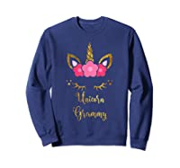 Unicorn Grammy Cute Floral Face Gift Christmas Shirts Sweatshirt Navy