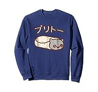 Kawaii T-shirt: Purrito Cat Japanese Version Sweatshirt Navy