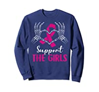 Support The Girls Boobs Hand Skeleton Breast Cancer Funny Shirts Sweatshirt Navy