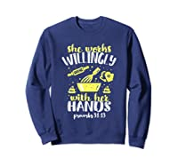 Funny Baking She Works Willingly With Her Hands T-shirt T-shirt Sweatshirt Navy