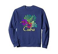 Cuba Beach Tropical Travel Surf Gift Shirts Sweatshirt Navy