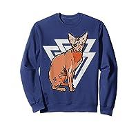 Vintage Geometric Sphynx Cat T-shirt Sweatshirt Navy