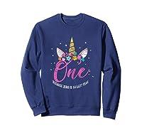 1 Year Old Birthday Girl Gifts Unicorn 1st Birthday Shirts Sweatshirt Navy