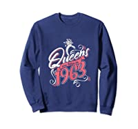 Queens Are Born In 1963 Bday Flamingo Gifts 57th Birthday T-shirt Sweatshirt Navy