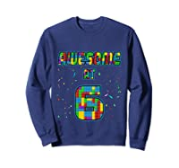 6 Years Old Birthday Gift I Age 6 Build Blocks Bricks Theme T-shirt Sweatshirt Navy