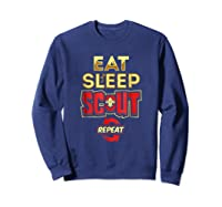 Eat Sleep Scout Repeat Funny Scouting Gift Shirts Sweatshirt Navy