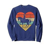 Dressage Vintage Design Retro Horseback Riding Heart Sport Shirts Sweatshirt Navy
